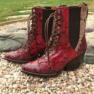 Coach Lace Up Bootie With Patchwork Snake NEW